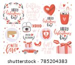 valentines day set with love... | Shutterstock .eps vector #785204383