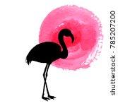 flamingo in grass silhouette ... | Shutterstock .eps vector #785207200