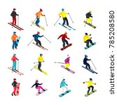 isometric people doing skiing...   Shutterstock . vector #785208580