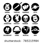 film genres icon set with drama ... | Shutterstock .eps vector #785215984
