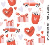 valentines day seamless pattern ... | Shutterstock .eps vector #785216083