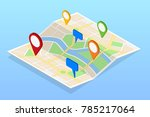 isometric city navigation map... | Shutterstock .eps vector #785217064