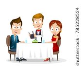 young couple having dinner in a ... | Shutterstock .eps vector #785228524
