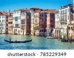 gondola with tourists is... | Shutterstock . vector #785229349