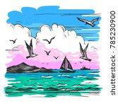 vector color sketch of a sea... | Shutterstock .eps vector #785230900