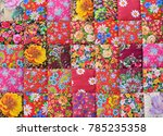 handmade patchwork quilt with... | Shutterstock . vector #785235358
