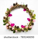 festive wreath of grape vines... | Shutterstock . vector #785240050