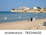 arabian family walking on the... | Shutterstock . vector #785246620