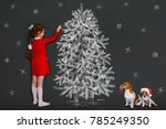 curly girl and her jack russell ... | Shutterstock . vector #785249350