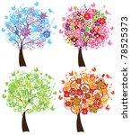 vector four season trees   Shutterstock .eps vector #78525373
