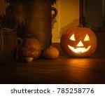 halloween pumpkin lighting at... | Shutterstock . vector #785258776