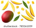mango slice with green leaves... | Shutterstock . vector #785261059