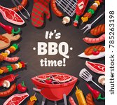 barbecue grill composition with ... | Shutterstock . vector #785263198