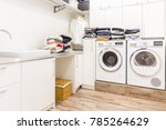 stacks of clean clothes in... | Shutterstock . vector #785264629