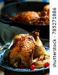 cranberry apple stuffed cornish ... | Shutterstock . vector #785271886