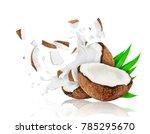 broken coconut into two pieces... | Shutterstock . vector #785295670