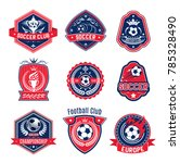 soccer ball shield badge of... | Shutterstock .eps vector #785328490