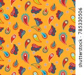 paisley yellow indian seamless... | Shutterstock .eps vector #785330506