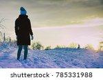woman wear black coat and... | Shutterstock . vector #785331988