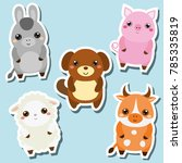 cute kawaii farm animals... | Shutterstock . vector #785335819