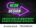 neon light alphabet  realistic... | Shutterstock .eps vector #785338534