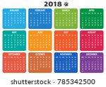 calendar 2018  template. week... | Shutterstock .eps vector #785342500