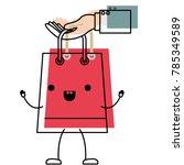 hand holding a trapezoid kawaii ... | Shutterstock .eps vector #785349589