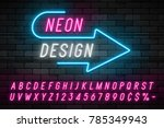 neon light alphabet  realistic... | Shutterstock .eps vector #785349943