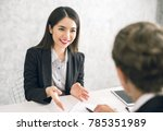 asian business woman discussing ... | Shutterstock . vector #785351989