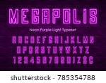 megapolis neon light alphabet ...   Shutterstock .eps vector #785354788