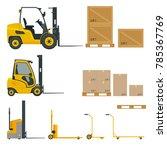 set of orange forklifts in... | Shutterstock .eps vector #785367769