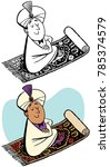 a man in a turban on a magic... | Shutterstock .eps vector #785374579