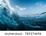 Small photo of Ocean wave breaking on the shore. Surfspot named Jailbreak, Maldives