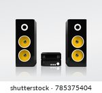 realistic black acoustic stereo ... | Shutterstock .eps vector #785375404
