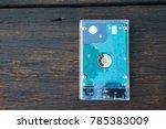 external harddisk on wooden... | Shutterstock . vector #785383009