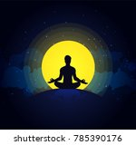 man meditate  yoga. buddhist... | Shutterstock .eps vector #785390176