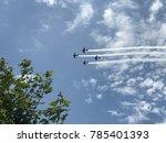 vintage warbirds leaving smoke... | Shutterstock . vector #785401393