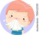illustration of a sick kid boy...   Shutterstock .eps vector #785412529