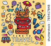 set of hand drawn travel doodle.... | Shutterstock .eps vector #785417848