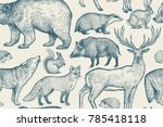 forest animals seamless pattern.... | Shutterstock .eps vector #785418118