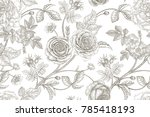 roses  flowers  leaves ... | Shutterstock .eps vector #785418193