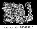 peacock tattoo on mandala... | Shutterstock .eps vector #785425210