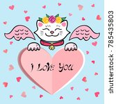 cute i love you card with white ... | Shutterstock .eps vector #785435803