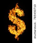 dollar sign from fire flame... | Shutterstock . vector #785450710