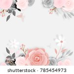 beautiful floral paper art with ... | Shutterstock .eps vector #785454973