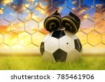 soccer ball and shoes on... | Shutterstock . vector #785461906