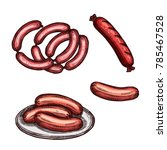 meat sausage on plate sketch....   Shutterstock .eps vector #785467528