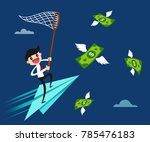 businessman balancing on the... | Shutterstock .eps vector #785476183