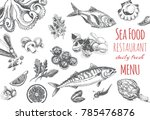 banner seafood restaurant menu.  | Shutterstock .eps vector #785476876
