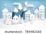 views of housing in winter.... | Shutterstock .eps vector #785482183